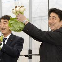 Light moment: Prime Minister Shinzo Abe holds a bundle of turnips Sunday in Koriyama, Fukushima Prefecture. The gesture was a bid to emulate the 'kabu agare' pun first made by former Prime Minister Keizo Obuchi. Kabu mean either turnips or stocks, and 'agare' means rise. | KYODO