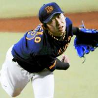 Buffaloes starter Chihiro Kaneko allows six hits and strikes out 10 in seven innings against the Seibu Lions at Seibu Dome on Thursday. Orix won 2-1.   KYODO PHOTO