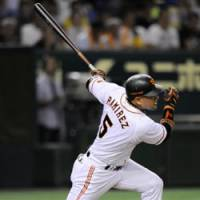 Back-to-back: Yomiuri Giants slugger Alex Ramirez hits a home run for the second straight at-bat in the third inning on Saturday against the Hiroshima Carp. Ramirez had a solo homer in the first and two-run shot in the third. | KYODO PHOTO
