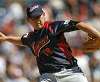 Japan starter Daisuke Matsuzaka pitches against Cuba in the second round of the World Baseball Classic at PETCO Park in San Diego on Sunday, when he struck out eight batters and walked none in a 6-0 victory.   AP PHOTO