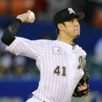 Long road back: Chiba Lotte pitcher Hiroyuki Kobayashi is looking to regain the form that made him one of Japanese baseball's top pitchers in 2007. | KYODO PHOTO