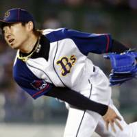 Magnificent work: Buffaloes right-hander Chihiro Kaneko picks up his fifth win of the season, tossing seven scoreless innings in Saturday's 6-4 victory over the BayStars in Kobe. | KYODO PHOTO