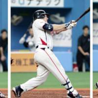 Records to be broken: A single from Norichika Aoki (left), a grand slam from Aaron Guiel (center) and a double from Yasushi Iishihara (right) helped the Yakult Swallows break the Japanese record for most hits in consecutive at-bats. | KYODO PHOTO