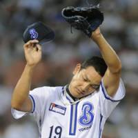 Look of frustration: BayStars rookie pitcher Hitoshi Fujie, who allowed two home runs and five runs in three innings, had a no-decision in Friday's game against the Lions in Yokohama. Yokohama defeated Saitama Seibu 6-5. | KYODO PHOTO