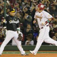 Big impact: Eagles slugger Takeshi Yamasaki has been a stabilizing force in the clubhouse for the youthful Eagles. His offensive productivity has been valuable for the team during its first postseason appearance. | KYODO PHOTO