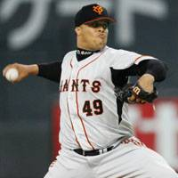 Good enough: Right-hander Dicky Gonzalez gives up nine hits in 5 1/3 innings, but only yields two runs in that span, helping the Giants earn a 4-3 victory in the Japan Series opener. | KYODO PHOTO