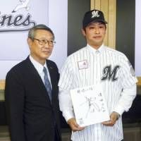 Catalyst for change: Chiba Lotte Marines president Ryuzo Setoyama (left) was behind the move to end Bobby Valentine's tenure as manager of the team. | KYODO PHOTO