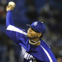 Redemption: Chunichi starter Edward Valdez faces the Swallows on Thursday. | KYODO PHOTO