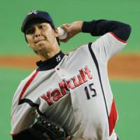 In control: Swallows southpaw Kyohei Muranaka holds the Dragons to three hits in seven scoreless innings on Sunday at Nagoya Dome. Tokyo Yakult beat Chunichi 9-0. | KYODO PHOTO