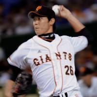 Terrific outing: Giants southpaw Tetsuya Utsumi fans nine batters and holds the Dragons to two hits on Friday at Tokyo Dome. Yomiuri blanked Chunichi 5-0.   KYODO PHOTO