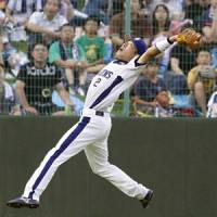 Tough play: Dragons shortstop Masahiro Araki catches a ball hit by BayStars slugger Shuichi Murata on Wednesday in Toyohashi, Aichi Prefecture. The Dragons won 4-2. | KYODO PHOTO