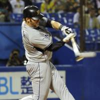 ONE FOR THE HISTORY BOOKS: Hanshin Tigers outfielder Matt Murton hits a two-run single against the Tokyo Yakult Swallows on Tuesday at Jingu Stadium for his 211th hit of the season, breaking Ichiro Suzuki's Japanese baseball single-season record of 210, which was set in 1994. | KYODO PHOTO