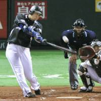 Highlight of the night: The Marines' Shoitsu Omatsu bashes a three-run homer in the second inning to account for all of the visitors' runs in Game 1 of the Pacific League Climax Series final stage on Thursday.