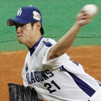 Bouncing back: Chen Wei-yin pitched well to help the Dragons tie the Japan Series in Game 2. | KYODO PHOTO