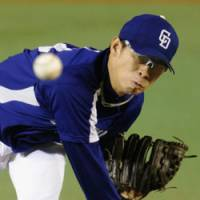 Bad day at the office: Dragons hurler Daisuke Yamai didn't have his best stuff on Tuesday, allowing five runs on eight hits in 3 2/3 innings.   KYODO PHOTO