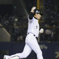 Blowout: The Marines' Saburo Omura hits a two-run home run in the bottom of the fourth inning as Chiba stretches its lead to 6-1 over Chunichi in Game 5.