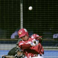 Big blast: Eagles slugger Motohiro Shima smacks a three-run home run in the seventh inning against the Marines on Tuesday at QVC Marine Field. Tohoku Rakuten defeated Chiba Lotte 6-4. | KYODO