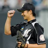 Fired up: Chiba Lotte Marines hurler Yuki Karakawa gave his  teammates a reason to smile on Tuesday: a 1-0 complete-game victory over the Hokkaido Nippon Ham Fighters. | KYODO