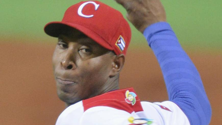 Outstanding outing: Cuba hurler Danny Betancourt allows one hit in 4 2/3 scoreless innings against China on Tuesday in their WBC game. Betancourt fanned eight batters. | KYODO