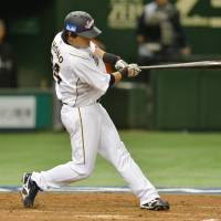 The catalyst: Japan leadoff hitter Hisayoshi Chono finishes with two hits and five RBIs in a 10-6 victory over the Netherlands in a World Baseball Classic second-round Pool 1 game at Tokyo Dome. Japan scored eight runs in the second inning.   AFP-JIJI