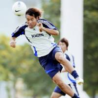 Japan's veteran striker Naohiro Takahara trains in his team's final workout before Friday's game against the United Arab Emirates in Hanoi. | KYODO PHOTO