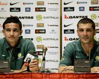 Australia's Tim Cahill, left, and John Aloisi, answer questions during a news conference on Wednesday in Hanoi. The Socceroos face Japan in the Asian Cup quarterfinals on Saturday. | AP PHOTO