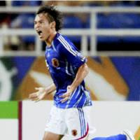 Naohiro Takahara celebrates his equalizing goal against Australia in the Asian Cup quarterfinals in Hanoi in July. Takahara finished as the tournament's joint-top scorer with four goals, but Japan lost its semifinal match against Saudi Arabia and its third-place playoff match to South Korea. | KYODO PHOTO