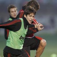 Kaka of AC Milan, fights for the ball during his team's practice session on Tuesday in Yokohama. AC Milan will face the Urawa Reds in the semifinals of the Club World Cup. | AP PHOTO