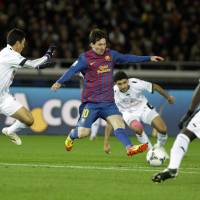 Star power: Barcelona's Lionel Messi (10) may need to play a bigger role in Sunday's Club World Cup final in the absence of injured striker David Villa.   AP