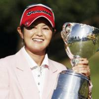 Major accomplishment: Shinobu Moromizato collects her second major title of the season on Sunday, winning the Japan LPGA Championship Konica Minolta Cup. | KYODO PHOTO