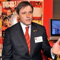Optimistic outlook: Nagoya Grampus manager Dragan Stojkovic, beginning his third season in charge, considers defender Marcus Tulio Tanaka to be the key to the team's overhaul as it aims to capture a J. League title this season. | YOSHIAKI MIURA PHOTO
