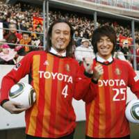 New attitude: Grampus newcomers Marcus Tulio Tanaka (left) and Mu Kanazaki will try to deliver the J. League title to Nagoya this season. | KYODO PHOTO