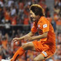 Leap of faith: Takuma Edamura celebrates scoring S-Pulse's winner against Kashima on Saturday. | KYODO PHOTO