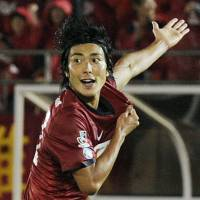 Hopeful: Kashima Antlers striker Yuzo Tashiro, who has scored six goals in the last eight games, is hoping his side can climb up to at least third place in the remaining months of the J.League season.   KYODO