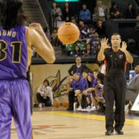 Stepping up: Tim Greene, who officiated in the bj-league for four seasons, is now working NBA games as a replacement referee during the league's labor standoff with officials. | YOSHIAKI MIURA PHOTO