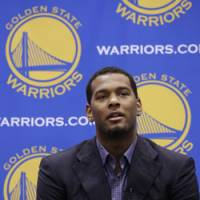 Stepping up: Former Tokyo Apache forward Jeremy Tyler, a second-round pick in last week's NBA Draft, speaks to the media at a news conference on Monday in Oakland, California, after being introduced by the Golden State Warriors. | AP