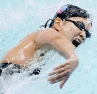 Intense competitor: Ai Shibata will vie for her second consecutive Olympic gold medal in the women's 800-meter freestyle in August in Beijing. | KYODO PHOTO