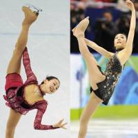 High stakes, high skates: Mao Asada (left) and Kim Yu Na perform their short programs at the Vancouver Olympics on Tuesday. Mao trails only South Korea's Kim, who shattered her own world record with a score of 78.50.   KYODO PHOTO