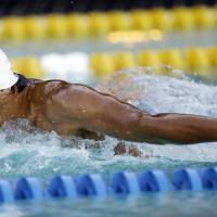 High hopes: Takeshi Matsuda, seen competing in the 200-meter butterfly final at the Santa Clara International Grand Prix last Sunday in California, is aiming for his first Olympic gold medal this summer in London. | AP