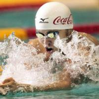 Super speed: Kosuke Kitajima shattered his own national record in the men's 200-meter breaststroke on Saturday during the National Swimming Championships in Tokyo. He completed the final in 2 minutes, 8.84 seconds. | AP PHOTO