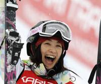 Joy of victory: Aiko Uemura exults after winning the World Cup moguls race in Myrkdalen-Voss, Norway, on Friday. | AP PHOTO