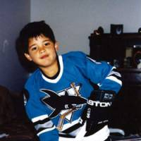 Future Shark: Devin Setoguchi wears a San Jose Sharks uniform given to him as a Christmas present when he was six years old growing up in Taber, Alberta. | SAN JOSE SHARKS