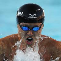 Still the man: Kosuke Kitajima swims to victory Thursday in the final of the 100-meter breaststroke at the Pan Pacific Championships. Kitajima won in a time of 59.35 seconds. | AP PHOTO