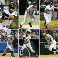A decade of excellence: Seattle's Ichiro Suzuki (top row, 2001-05, left to right; bottom row, 2006-10, left to right) is seen collecting his 200th hit in each of his 10 Major League Baseball seasons, including a fifth-inning single on Thursday in Toronto. | KYODO PHOTOS