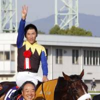 Wonderful moment: Jockey Masayoshi Ebina and Apapane share the spotlight after the horse won the Shuka Sho on Sunday at Kyoto Racecourse. | KYODO PHOTO