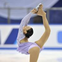 Falling queen: Two-time world champion Mao Asada finished eighth in the women's final standings with a career-worst 133.40 points at the NHK Trophy in Nagoya on Saturday. | KYODO PHOTO