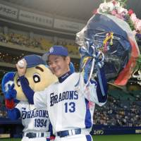On top of the mountain: Hitoki Iwase became Japan's all-time saves leader on June 16. | KYODO PHOTO