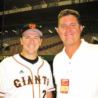 Good to be back: Former NPB pitcher Nate Minchey (right)stands beside Yomiuri Giants infielder Josh Fields during a recent trip to Tokyo Dome. | WAYNE GRACZYK PHOTO