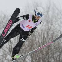 Aerial excellence: Ski jumper Sara Takanashi competes in the Miyasama International in Sapporo. The 16-year-old placed first in the large hill event on Sunday. | KYODO