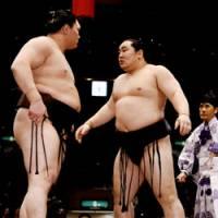 Showdown: Fellow Mongolian sumo wrestlers Asashoryu and Hakuho face off after their bout May 25 on the final day day of the Natsu Basho in Tokyo.